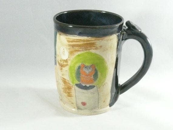 Large Ceramic Coffee Mug, Pottery Mug, Pottery Cup, Teacup, Unique Coffee Mugs, Woodland Art 327