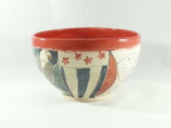 American Eagle Stars and Stripes Ice Cream Bowl, Dish salad, cereal keys, Artistic Vessel, Carved Art Object, Soup Bowl 371
