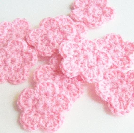 Mini Crochet Flower Appliques, Pink Crochet Flower,  Flower Embellishment, Scrapbooking, Set of 10, Miniature Flower, Crochet Flower Motif