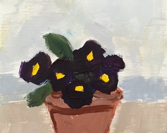 flower painting original acrylic painting flowers in pot black pansies