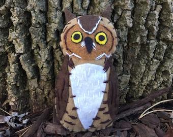 Great Horned Owl Felt Bird Ornament,embroidered, Home Decor