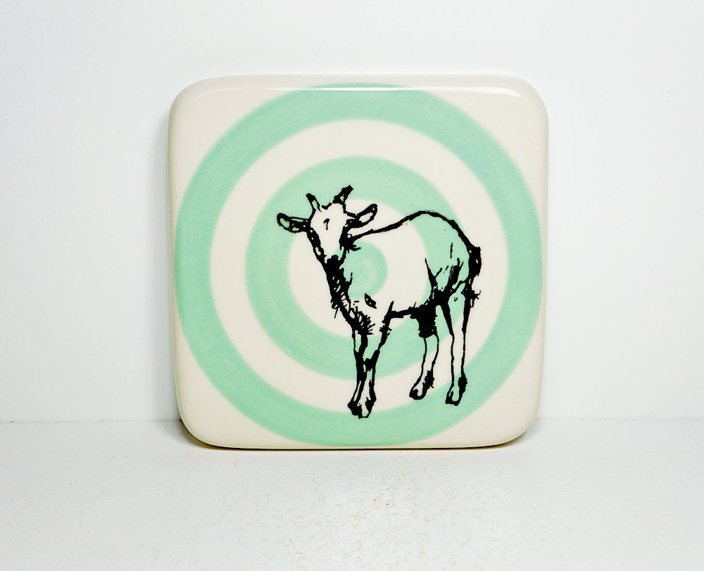 tile with a billy goat on a blue green bullseye, Ready to ship.