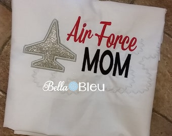 Custom Embroidered Armed Forces Air Force Mom tee shirt Sml to Xl