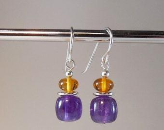 Amber and Amethyst Earrings