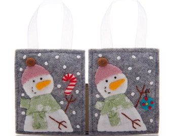 Snowman Ornament Set, 2 Wool Felt Ornaments, Advent Calendar Gifts, Felt Candy Cane, Cute Christmas Gift Decoration, Hand Embroidered