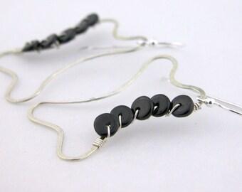 Wire bone black spinel sterling earrings cserpentDesigns open lightweight