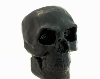 Ceramic Black Skull Scrubby Holder or Bath Vanity Storage Container Halloween Treat Jar with Open Area in Back Small Utensil Spoon Jar