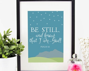 Psalm 46 Printable Wall Art by BitsyCreations Instant Download Scripture Art