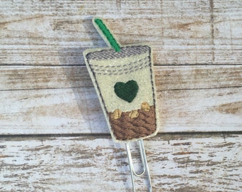 Iced coffee planner clip ~ iced coffee bookmark ~ planner accessories ~ iced coffee glitter vinyl feltie ~ iced coffee vinyl paperclip