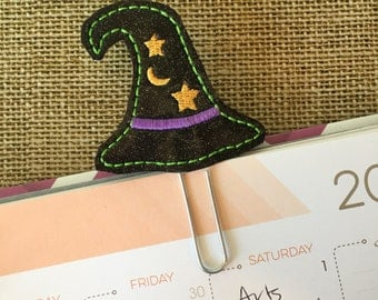 Witch hat planner clip - witch bookmark - Halloween planner accessories - witch glitter paperclip - planner paperclip