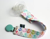 Pacifier clip - snap - enamel clip - anchor - pink - white - blue-green - cotton fabric - baby - baby girl - baby gift - baby shower - dummy