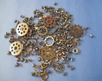 Lot of steampunk components, gears, screws, + screws, metal, funky pieces, jewelry, mixed media