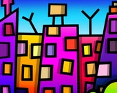 City Skyline - colourful fine art giclee print by Amanda Hone