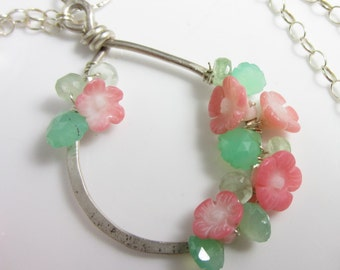 Flower Vine Necklace - Sterling SIlver and