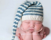 Newborn Baby Boy Hat PHoTO PRoP Knit Long Tail SToCKiNG CaP Ivory Slate Blue Stripe Toque CoMiNG HoME Pixie Beanie CHooSE CoLOR Shower Gift