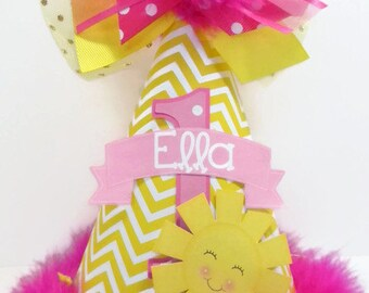 Personalized Hot pink  You are my Sunshine Party Hat