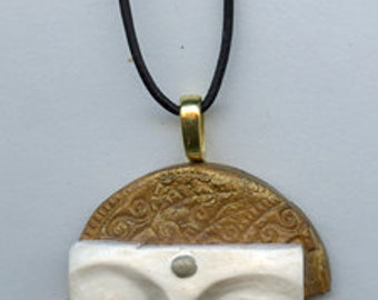 Ready to Wear  Smaller Golden  Buddha Necklace on  Black Leather Cording SMBD 2
