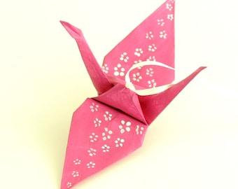 White Cherry Blossoms on Fuchsia Pink Origami Crane Ornament Home Decor