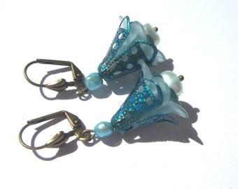 Vintage Style Lucite Flower Earrings.  Vintage Teal Blue Flower with Bead Cap Earrings.