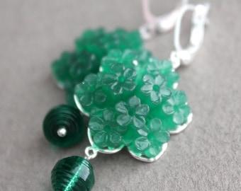Emerald Green Vintage Flowers & Vintage Swarovski Earrings - Silver Plated