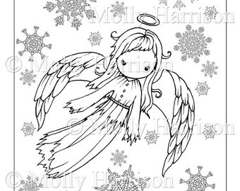 Angel Coloring Page - Cute Angel in Snowflakes - Printable Instant Download - Adult Coloring Page - Christmas Angel - Fairy, angels