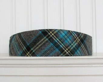 Blue, Gray, Black and White Plaid Headband - Fabric Headband - Womens Headband - Womens Hair Accessories