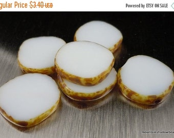 50% OFF Clearance 15mm Coin Opaque White Picasso Beads - 6 Czech Picasso Beads . Czech Glass Beads (C - 63)