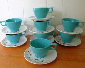 vintage aqua flower melmac cup and saucer set Kenro