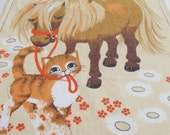 Vintage Kitsch Tea Towel - Pristine Condition - Orange and Brown Pony and Kittens