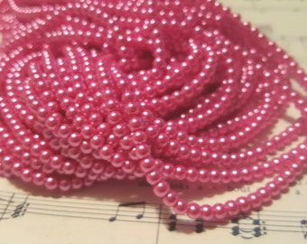 4mm Pink Glass Pearls - Approx. 210 pcs - Hot Pink Beads - Round - Pink Pearl Beads - Bubblegum Pink Beads