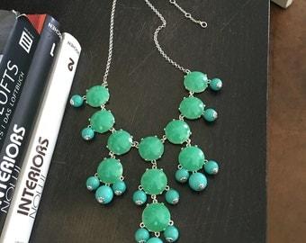 New Silver Bubble Necklace - Aqua Turquoise Bubble Necklace -  Blue statement necklace - blue choker - bib necklace - ocean blue