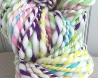 Yarn Handspun - PIXY STIX - knitting supplies, crochet, weaving, craft supplies, baby  prop yarn waldorf doll hair 50yds.