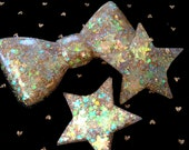 Gold Iridescent Glitter Confetti Resin Bow or Stars Hair Clips