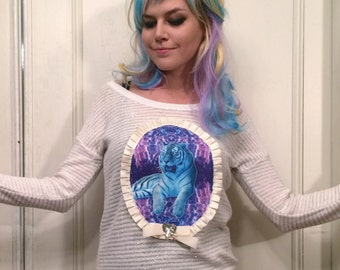 Sparkley White and Radical Tiger Applique Pull Over Sweater
