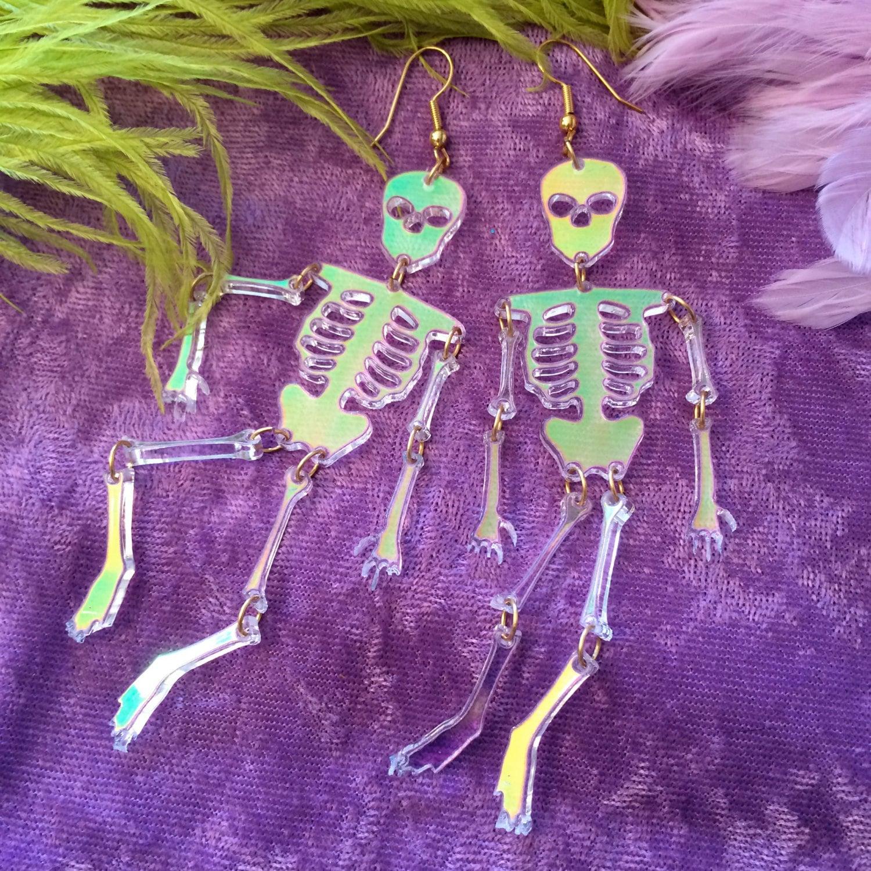Radiant acrylic skeleton earrings for Radiant plexiglass