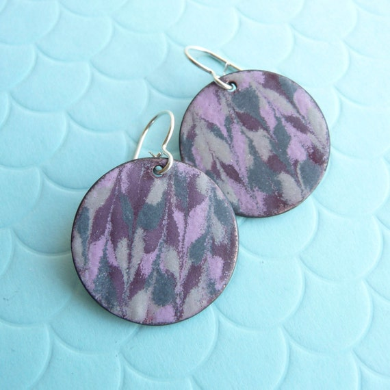 Pink Marble Enamel Earrings - Pink, Purple, and Grey Marbled Vitreous Enamel and Sterling Silver Ear Wires - CC Star