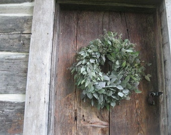 SEEDED EUCALYPTUS WREATH    natural dried decoration  for door or wall