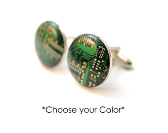 Recycled Computer Circuit Board Cufflinks - Geeky Jewelry - Technology Cufflinks - Geeky Wedding