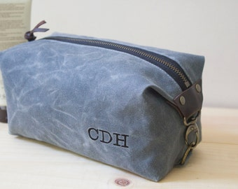 Personalized Gift for Men, Men's Dopp Kit, Standard Size Toiletry Bag, Travel Bag - Water Resistant Lining, Waxed Canvas - Gray - Handmade