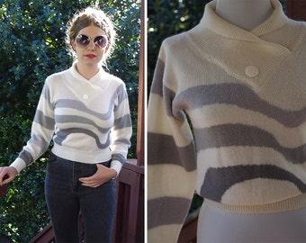 Grey WAVE 1970's 80's Vintage Cream + Grey Gradient Striped Sweater with Cinch Waist // size Small // by Vino de Casa