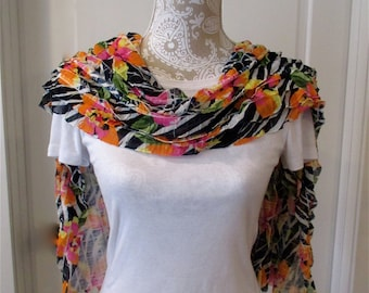 Women's fabric shawl, silky shawl, ruffled shawl, summer shawl, fabric pashmina, lightweight wrap in a hibiscus floral pattern,