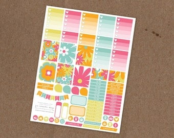 Printable Groovy Floral Weekly Planning Sticker Kit- Ombre Check Boxes, Icon Stickers, Pattern boxes - ECLP, MAMBI Happy Planner, Filofax