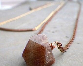 simple sunstone necklace, long sunstone pendant necklace, long bohemian necklace, bohemian stone necklace, long copper chain