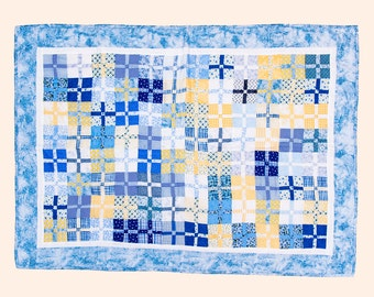 Summer Garden Baby Quilt, Made with Blue and Yellow Fabric Squares, Handmade Baby Bedding, Blue Patchwork Quilt
