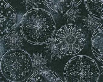 Hoffman Celestrial Medallion Sun Gazing Black Gray Silver Metalic Cotton Fabric 1 Yard