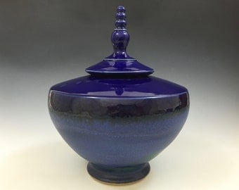 Lidded Vessel - Handmade Urn - Cobalt and Arabia Blue - Ready to Ship