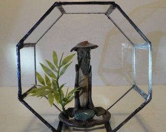 Stained Glass Geometric Planter, Octagon, Home Decor, Indoor Garden, Reclaimed Glass, Display Case, Air Plant Planter, Terrarium, Diorama