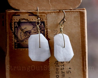 White Noise - Strung-Out guitar string earrings with Rainbow Moonstone