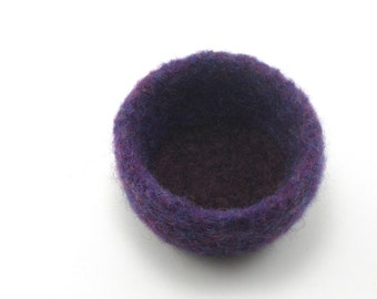 Felted wool bowl - mini felt bowl - color block bowl - plum and brown