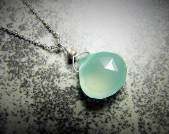 Pastel Sea Green-Aqua Chalcedony Necklace, Solitaire Gemstone Teardrop